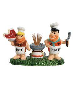 Flintstones Chefs Salt Pepper Shaker/Toothpick Holder Set
