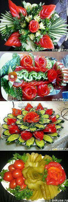 60 Ideas for fruit salad presentation vegetable carving Veggie Art, Fruit And Vegetable Carving, Veggie Food, Veggie Platters, Food Platters, Salad Presentation, Food Garnishes, Garnishing, Food Carving