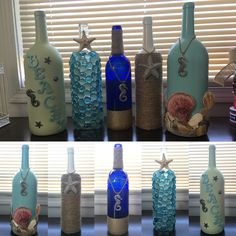 Beachy! Simply a must have for summer time decor!   Visit The Ginger Ninja Shop (Etsy)   https://www.etsy.com/listing/462410103/beach-bottles