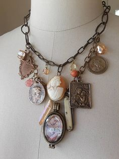 Vintage repurposed assemblage charm necklace boho jewelry french cameo locket religious antique medal Atelier Paris on Etsy bone knife heart Vintage Jewelry Crafts, Recycled Jewelry, Jewelry Art, Fine Jewelry, Jewelry Design, Fashion Jewelry, Jewelry Making, Vintage Cameo Jewelry, Jewelry Holder