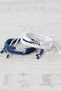 Anchor bracelet for men and women Matching couple bracelets Macrame bracelet Friendship bracelet Couples set His and her bracelet - set of 4 by ElvishThings on Etsy