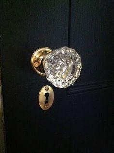glass door knob, brass hardware on black doors via architect design™ #ThingsMatter