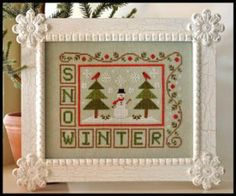 """Just in time for cold weather stitching is this cross stitch pattern from Country Cottage Needleworks titled """"Winter Snow"""" featuring a snowm..."""
