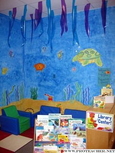 ocean themed classroom | Reading Corner: The Awesome Angelfish Aquarium Library