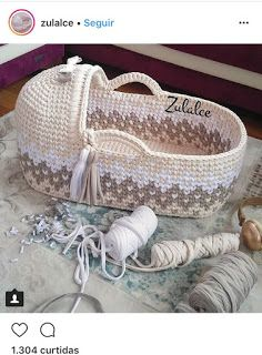 Baby Moses Basket , Baby Bassinet, Crocheted Moses Basket ,Cribs with Matress cradle t-shirt yarn basket, for parents to be Diy Crochet Basket, Crochet Diy, Crochet Books, Crochet Gifts, Baby Afghan Crochet Patterns, Crochet Stitches, Bikinis Crochet, Baby Moses, Baby Baskets