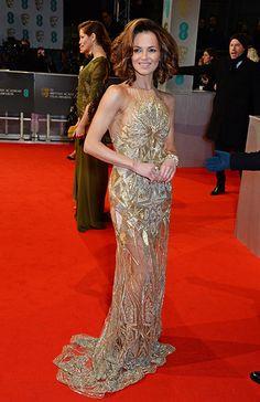 Kara Tointon attends 2015 BAFTA Awards waering Julian Mcdonald