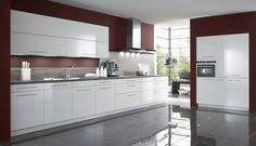 TANIA BLANC - Zuiver witte keuken met front MDF dikte 19mm, glanzende lak, witte achterkant, dikkant op 4 zijden | Meubelen Crack