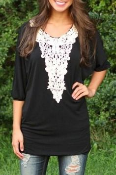 Black Patchwork Lace Hollow-out Dolman Sleeve Fashion Mini Dress