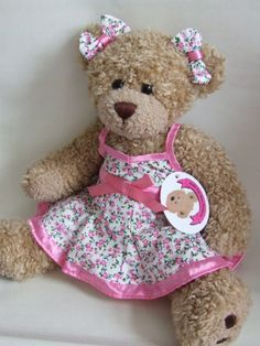 dc0605c704e Build your Bears Wardrobe trade teddy bear clothes Pink Satin Trim floral  Dress with 2 Bows