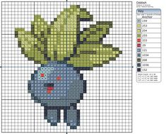 Oddish Pokemon free cross stitch pattern
