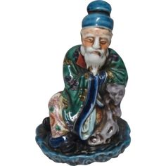 Japanese Antique 九谷焼 Kutani Okimono/ Statue of a Wise Man