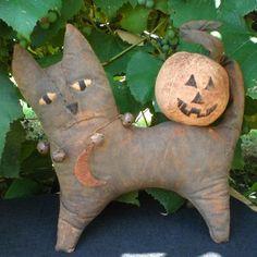 Gypsy The Primitive Halloween Black Cat With Jack O Lantern Pumpkin