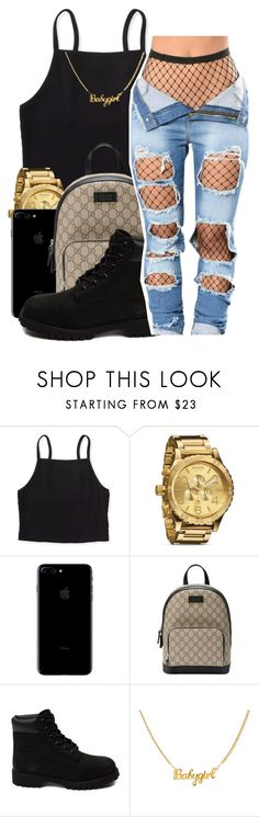"""You're thinkin too much, stop it✨"" by maiyaxbabyyy ❤ liked on Polyvore featuring Aéropostale, Nixon, Gucci and Timberland"