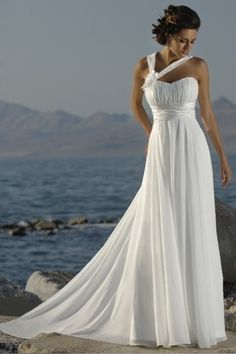 Classic Empire Halter Sweep/Brush Train Chiffon Summer Beach Wedding Dress USD 133.09 LDP25N8JG9 - LovingDresses.com