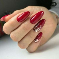 Red gel nails with a sparkling accent - Nails - sparkling gel nails . -Red gel nails with a sparkling accent - Nails - sparkling gel nails . -Red gel nails with. Red Shellac Nails, Sparkle Gel Nails, Glitter Nail Art, Pink Nails, Red Nails With Glitter, Nail Red, Acrylic Nails, Glitter Accent Nails, Nail Nail