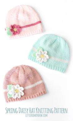This Spring Daisy Baby Hat Free Knitting Pattern is a cute and simple baby hat for Spring or Easter. Make one now with the free pattern provided by the link below. Baby Hat Knitting Patterns Free, Baby Hat Patterns, Baby Hats Knitting, Free Knitting, Knitted Hats, Crochet Patterns, Newborn Knit Hat, Stitch Patterns, Kids Knitting
