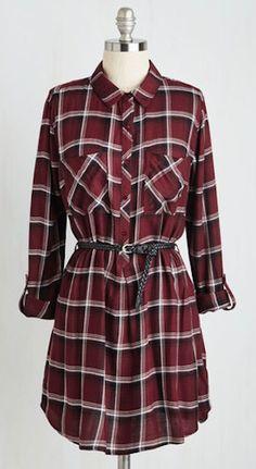 fall plaid shirtdress