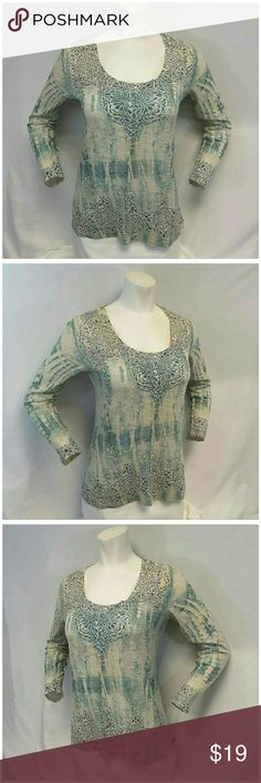 """KIARA Beaded Lightweight Thermal Top size Medium KIARA, Beaded, Lightweight Thermal Top, size Medium See Measurements, scoop neck, thin stretchy soft material, machine washable, 63% polyester, 37% cotton, approximate measurements: 25 1/2"""" length shoulder to hem, 19"""" bust laying flat, 24"""" sleeves, 18"""" width shoulder seam to shoulder seam. ADD TO A BUNDLE! 20% BUNDLE to Kiara Tops"""