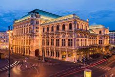 Vienna State Opera, Austria - Vienna State Opera iluminated at night with the light trails. Fly Around The World, Around The Worlds, Vienna State Opera, Light Trails, Austria Travel, Blue Hour, Light Architecture, Vienna Austria, Beautiful Sunset