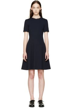 Erdem Blue Lace Trimmed Almira Dress