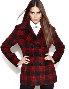(Was $250.0) $189.99 BCBGeneration Coat, Double-Breasted Plaid Pea Coat