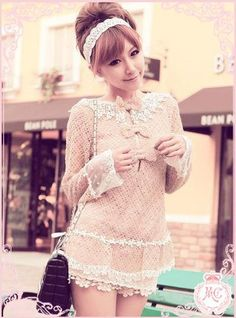 Cute, sweet gyaru: Creme top with white lace details. White lace skirt. Black bag. White headdress. | ☆Japanese Kawaii ☆ | Pinterest
