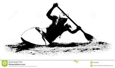 Photo About Silhouette Of A Kayaker On White Background