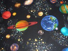 Designerstoffe USA - Weltraum, Astronauten,Mond,  Patchwork - ein Designerstück von Made-by-Heidi bei DaWanda