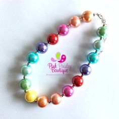 A personal favorite from my Etsy shop https://www.etsy.com/listing/242141926/baby-girl-chunky-necklace-rainbow-bubble
