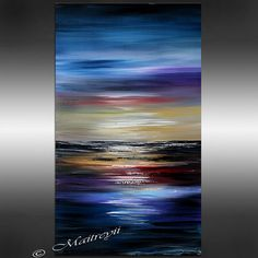 48 ABSTRACT PAINTING LANDSCAPE Painting Blue Ocean by largeartwork, $250.00