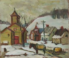 Kathleen Morris, 'Quebec Village' oil on panel at Mayberry Fine Art Canadian Painters, Canadian Art, Beaver Hall, Tom Thomson Paintings, Quebec City, Chapelle, Winter Art, Art World, Art History