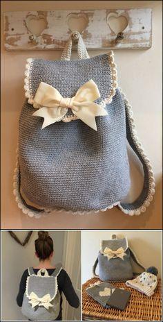 18 Crochet Backpack with Free Patterns--->Crochet The Out & About Backpack with Free Pattern  #Crochet #Backpack #Pattern
