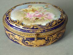 French Porcelain Jewelry Box  Antique French by SwirlingOrange11