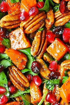 Butternut Squash Spinach Salad with Pecans, Cranberries, Pomegranate with Poppy Seed Honey-Lime Dressing | Julia's Album