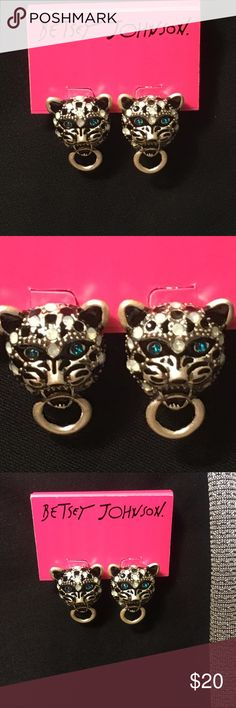 Snow Leopard Betsey Johnson Studs Fierce snow leopard studs with silver colored hardware and black and white colored spots/ stones. Piercing blue eyes and a ring/hoop inside mouth Betsey Johnson Jewelry Earrings