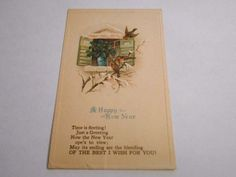 Postcard Embossed Happy New Year Best Wishes Birds Divided Back Posted     4339 #NewYear