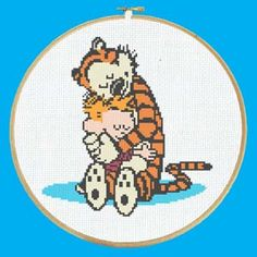Adorable Calvin and Hobbes Cross Stitch Pattern PDF Instant Download