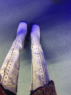 Miu miu lace up patent cream boots. The only good thing about winter is getting to wear these again