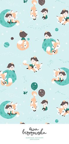 Baby Ilustration The Little Prince and the fox – mint and brown version. Little prince, Petit pri… Boys Wallpaper, Pattern Wallpaper, Wallpaper Backgrounds, Baby Illustration, Character Illustration, Illustrations, Mint Nursery, Nursery Boy, Baby Boy Toys