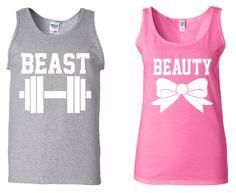 Beast & Beauty funny workout COUPLE TANK-TOP super cute couple Love wedding tees