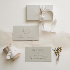 fabulous vancouver wedding Love seeing our new business card styled by @writtenworcalligraphy! Spoiled with luxe taupe cotton paper in champagne foil wrapped in @stellawolfe ribbons and @silkandwillow ahmisa ribbon. Speaks so much about us! #calligraphy #illustration #branding #design #foil by @chandelierwedding  #vancouverwedding #vancouverweddingstationery #vancouverwedding