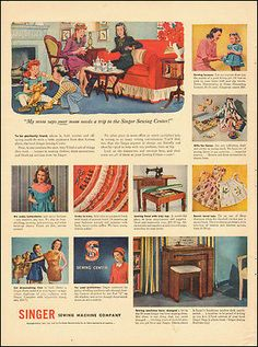 1946-Singer Sewing Machine Company`Art, fabric, dresses, 40's Fashion-Vintage Ad
