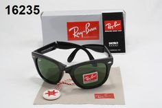 Ray Ban Folding Wayfarer  Ray-Ban Wayfarer Sunglasses Lens Green Frame Black