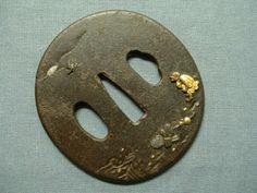 Antique Japanese Samurai Sword Tsuba, Edo