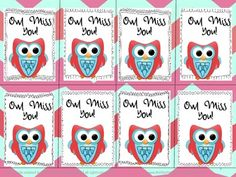 "These ""Owl Miss You"" tags can be printed in full-color with a plaid or funky chevron background, or in black & white. Attached them to any End-Of-The-Year gift! Student Teacher Gifts, Student Teaching, Teaching Ideas, Teacher Presents, Teacher Stuff, Goodie Bags For Kids, Gifts For Kids, Gifts For Students, Small Gifts"
