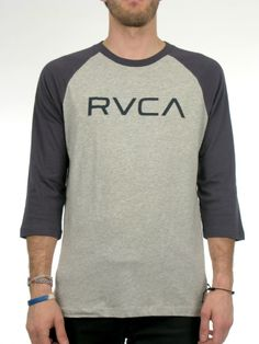 The RVCA Big RVCA is a 3/4 sleeve baseball raglan tee with a front screen print and screened inside neck. 100% cotton