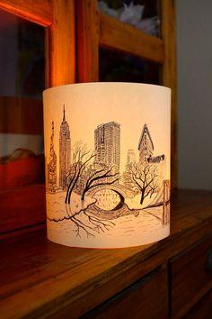 EXTRA LARGE New York Illuminated Paper lantern Originally Hand Drawn - just add candle