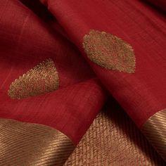 Handwoven Red Kadhwa Banarasi Tussar Silk Saree With Floral Butis 10013038 - closeup - AVISHYA.COM