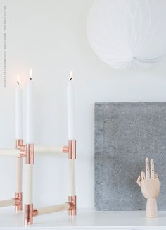 Trends | DIY with copper and wood | Candlesticks   coatracks
