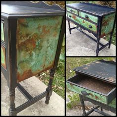 Fantastic furniture piece by Hoity-Toity Peacock using the Modern Masters Metal Effects product line! Hand Painted Furniture, Paint Furniture, Repurposed Furniture, Furniture Projects, Furniture Makeover, Cool Furniture, Refinished Furniture, Antique Furniture, Patina Paint